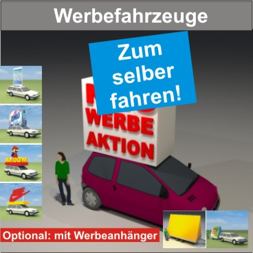 Werbefahrzeuge zum selber Fahren mit Dachaufbau