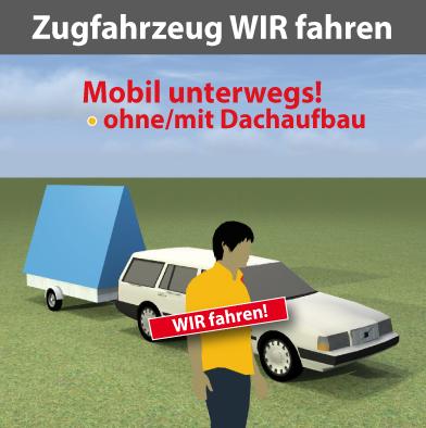 Zugfahrzeug für Werbeanhänger mit Fahrer